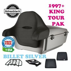 Billet Silver King Tour Pack Trunk Black Hinges And Latch For 97-20 Harley Touring