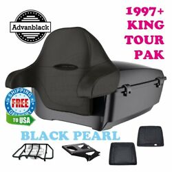 Black Pearl King Tour Pack Trunk Black Hinges And Latch For 97-20 Harley Touring