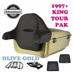Olive Gold King Tour Pack Trunk Black Hinges And Latch For 97-20 Harley Touring