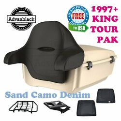 Sand Camo Denim King Tour Pack Black Hinges And Latch For 97-20 Harley Touring
