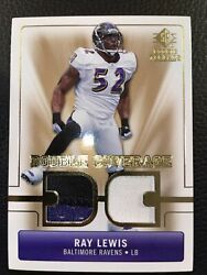 2007 Upper Deck Sp Rookie Threads Football Ray Lewis Dual 3 Color Patch Dc-rl