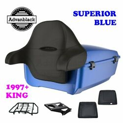 Superior Blue King Tour Pack Trunk Black Hinges And Latch For 97-20 Harley Touring