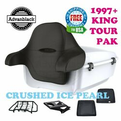 Crushed Ice Pearl King Tour Pack Black Hinges And Latch For 97-20 Harley Touring