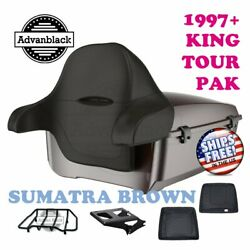 Sumatra Brown King Tour Pack Trunk Black Hinges And Latch For 97-20 Harley Touring