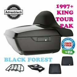 Black Forest King Tour Pack Luggage Trunk Black Hinges And Latch For 97-20 Harley