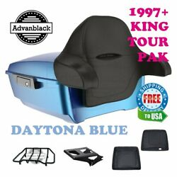 Daytona Blue King Tour Pack Trunk Black Hinges And Latch For 97-20 Harley Touring