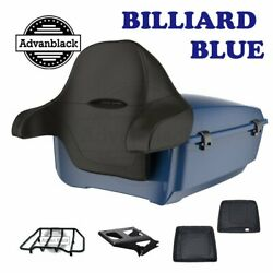 Billiard Blue King Tour Pack Trunk Black Hinges And Latch For 97-20 Harley Touring