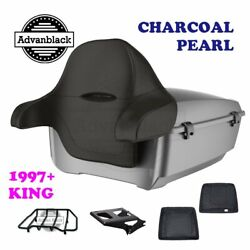 Charcoal Pearl King Tour Pack Black Hinges And Latch For 97-20 Harley Touring