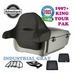 Industrial Gray King Tour Pack Trunk Black Hinge Latch For 97-20 Harley Touring