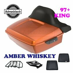 Amber Whiskey King Tour Pack Black Hinges And Latch For 1997-2020 Harley Touring