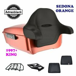 Sedona Orange King Tour Pack Trunk Black Hinges And Latch For 97-20 Harley Touring