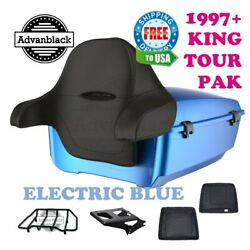 Electric Blue King Tour Pack Trunk Black Hinges And Latch For 97-20 Harley Touring
