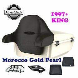 Morocco Gold Pearl King Tour Pack Black Hinge And Latch For 97-20 Harley Touring