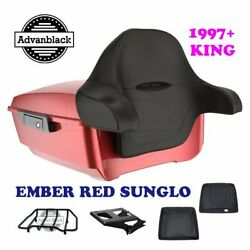 Ember Red Sunglo King Tour Pack Black Hinges And Latch For 97-20 Harley Touring