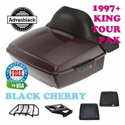 Black Cherry King Tour Pack Trunk Black Hinges And Latch For 97-20 Harley Touring