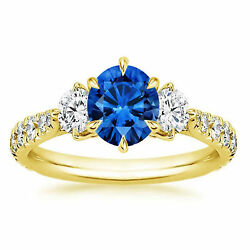 Solid 14k Yellow Gold 1.34 Ct Diamond And Blue Sapphire Engagement Ring Size 7 8 9