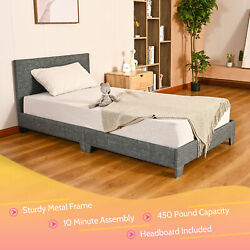 Twin/full/queen Size Bed Frame Upholstered Platform Bed Frame W Headboard