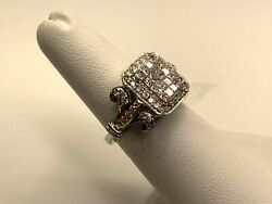 18k 2-tone Solid Gold 1.00ct Diamond Princes Cut Cluster Cocktail Ring Size 6