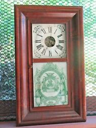 Large Ogee Clock 1840s Mah. Orig. Glass Dial Hands Movement Color Works X Nice