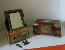 Ai Pair Vintage Antique Wooden Ware Jewelry Boxs For Parts Or Repair As Found