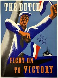 Original Vintage Poster The Dutch Fight On To Victory Propaganda Ned Wwii War Ol