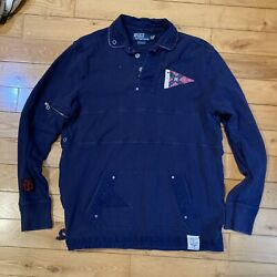 Vtg Polo Rugby Shirt Naval Tailors Size M Embroidered Big Patches