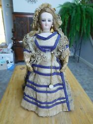 Antique 13 Smiling Bru French Fashion Pressed Bisque Lady All Original Clothes