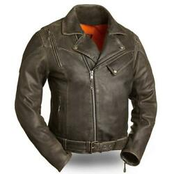 First Manufacturing 60#x27;S New Yorker Men#x27;s Leather Motorcycle Jacket $229.00