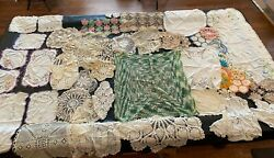 Huge Lot Of 81 Antique Doilies, Linens, Table Covers, Embroidered Toppers, Etc.
