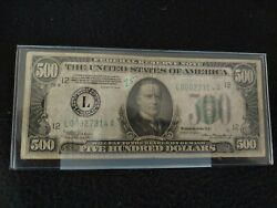 🔥500 1934 Bank Of San Francisco Five Hundred Bill Low Serial L00027314a 🔥🔥