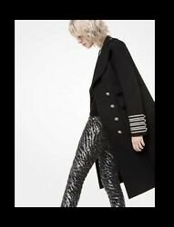 Collection Wool And Cotton Gabardine Military Coat Black Sz 16 3990
