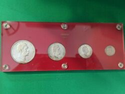 Gorgeous 1883 Encased Kingdom Of Hawaii Silver 4 Coin Set 1, 50¢, 25¢ And 10¢