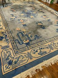 Chinese Art Deco Peking Hand Knotted Wool Oriental Rug With Fringes 9x12