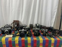 Lot Of Vintage Cameras, Lenses Cases Untested As-is Canon Minolta Yashica Polar