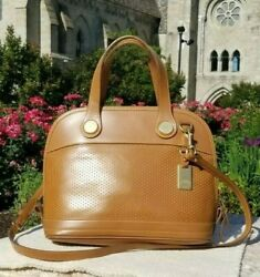 Vintage Dooney amp; Bourke Cabriolet Brown perforated leather Crossbody bag GREAT $38.00