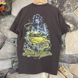 Vintage 1997 Rollin Hard Golden Touch Truck Tshirt Brown Mexican Cholo Lowrider