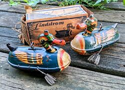 Antique Pre-war Lindstrom Mechanical Colorful Ducks No.308w/box Tin Toy 100orig
