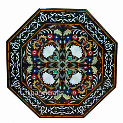 42 Inch Marquetry Art Marble Conference Table Top Hand Crafted Dining Table Top