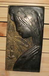 Vintage Modernist Religious Brass Wall Hanging Plaque Praying Woman The Virgin