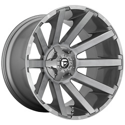 24 Inch 8x170 4 Wheels Rims 24x14 -75mm Brushed Gun Metal Tinted Clear Fuel 1pc