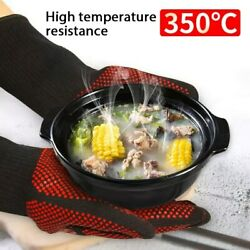 Bbq Gloves Heat Resistant Grill Oven Mitts Silicone Insulated Baking Cooking