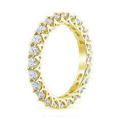 2.50 Ct Real Diamond Solid 14k Yellow Gold Engagement Eternity Band Size 8 9 4 5