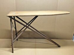 Antique Wooden Ironing Board Folding Table Primitive Mid-century Vtg 47x12x34