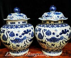 25.5 Old Chinese Bule White Porcelain Dynasty Fish Grass Tank Pot Crock Pair