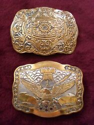 Crumrine Western Belt Buckles Set Of Two For Men/ladies... Beautiful Condition