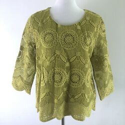 Sm2 Green Embroidered Blouse Top Women's Medium Scalloped Floral Embroidered