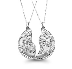 Sterling Silver Mizpah Split Coin Protection And Inspirational Pendant And Necklace