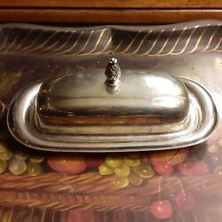 Wm. Rogers Silverplate Butter Dish 987 Tray And Cover W/ Pineapple Finial