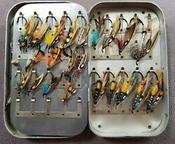 Vintage Wheatley Fly Box With Vintage Salmon Flies
