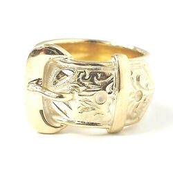 9ct Gold Buckle Ring Men's Yellow Solid 29.6g Size Z+1 Brand New 19mm Wide